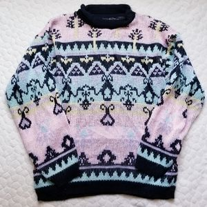 Vintage 80s sweater pastel avant garde eclectic S